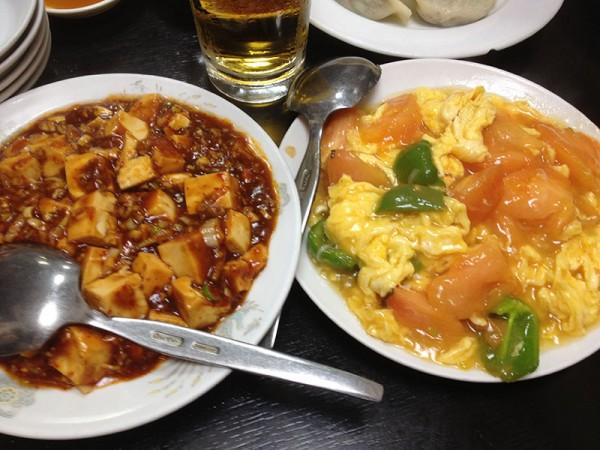 トマト卵と麻婆豆腐