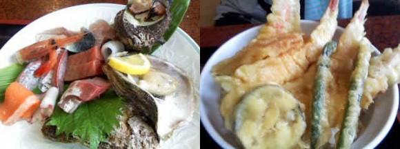造り定食1700円(左)。 カニの天ぷら丼1400円(右)