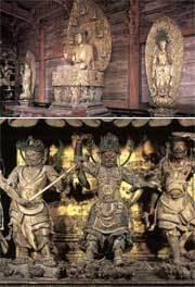 両脇侍菩薩像(画像上)、薬師三尊・十二神将(画像下)