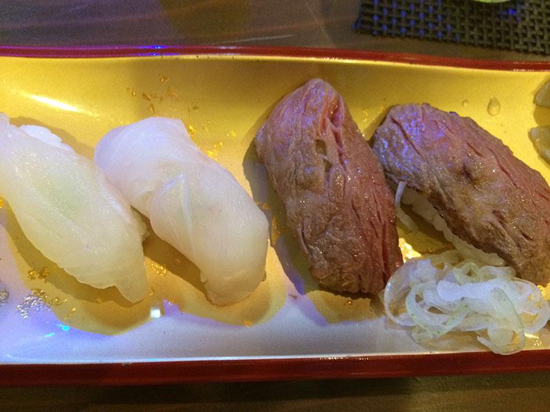石垣島サバニ船の石垣牛の寿司