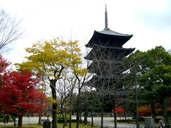 紅、黄、緑の3色の木と、五重塔